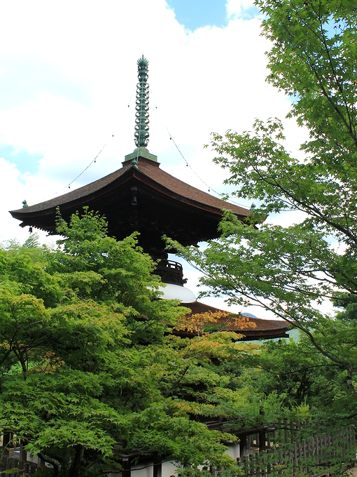 常寂光寺のシンボル 夏の「多宝塔」