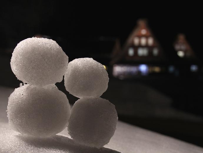 合掌造りのライトアップと雪だるま