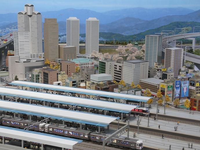 ジオラマで再現された大阪の街(リニア・鉄道館)