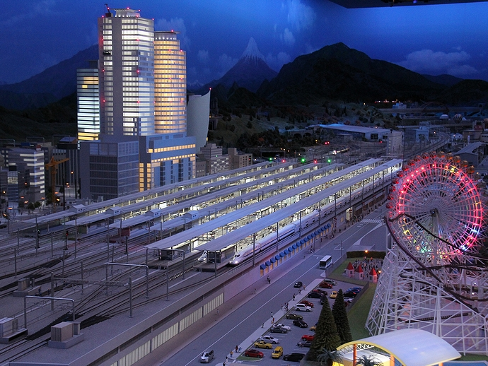 リニア・鉄道館のジオラマ 名古屋駅の夜景