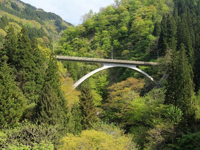 庄川の橋と新緑の谷 初夏の五箇山にて