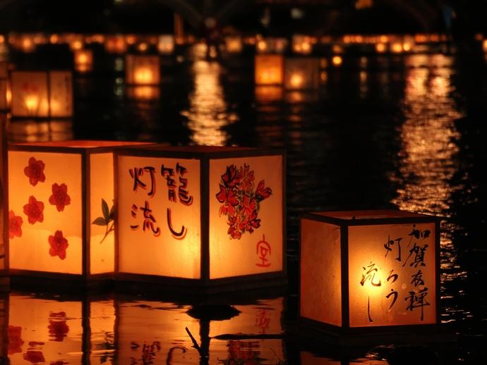 加賀友禅灯篭流しの灯篭(浅野川にて)