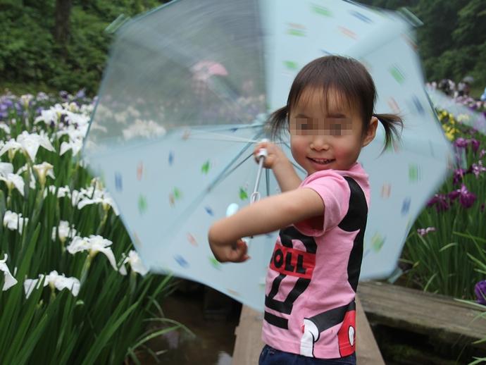 傘を持って 砺波市頼成の森花しょうぶ祭りにて