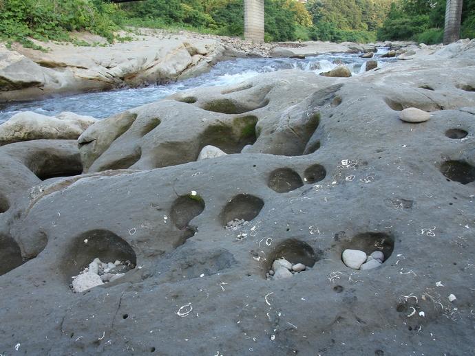 犀川と多数の小さな甌穴(ポットホール)