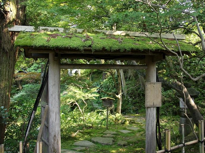苔が似合う玉泉園のひなびた門