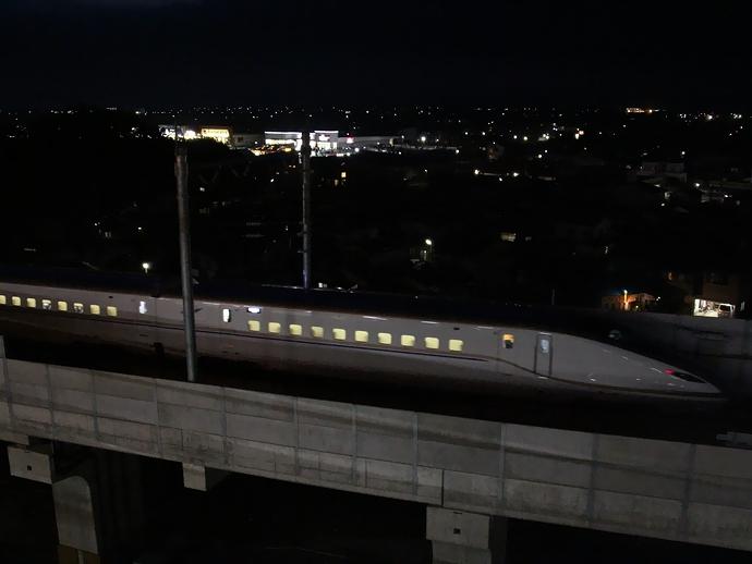 試験走行初日 白山総合車両所へ戻るW7系(北陸新幹線)