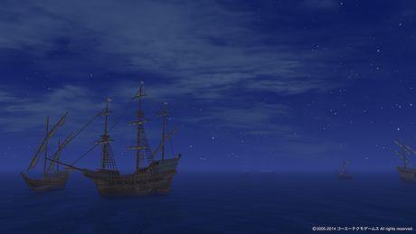 夜霧の船影