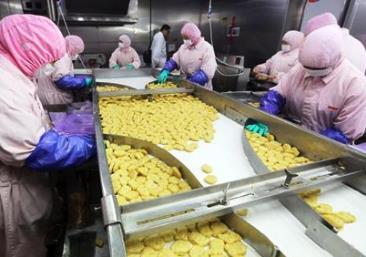 「上海福喜食品有限公司」の鶏肉加工品の生産ライン