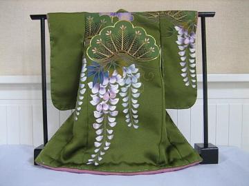 ミニ着物 日本刺繍 あしらい 松に藤1