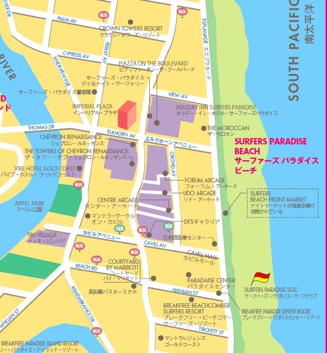 サーファーズパラダイス街歩き地図