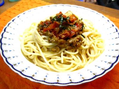 キムチ納豆たらこスパゲティ