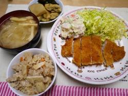 トンカツとたけのこご飯 2014-4