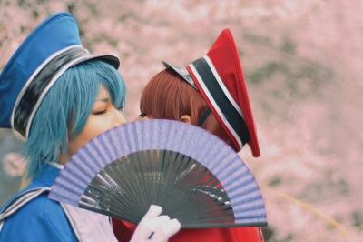 コスプレ写真。ボーカロイドのMEIKOとKAITOの千本桜の衣装。豊島園で撮影。