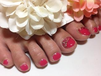 フットジェルネイル ワンカラー ピンク 夏 2014 ストーン
