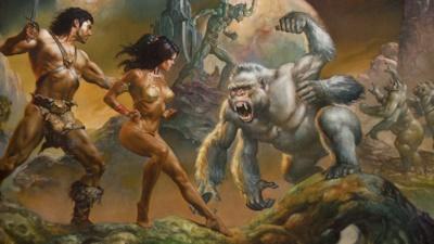 襲いかかる大白猿