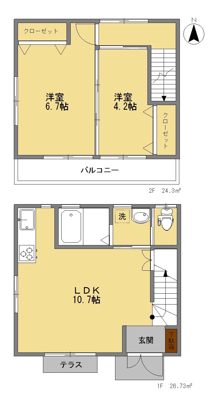 メゾネットピーチ1号室間取図
