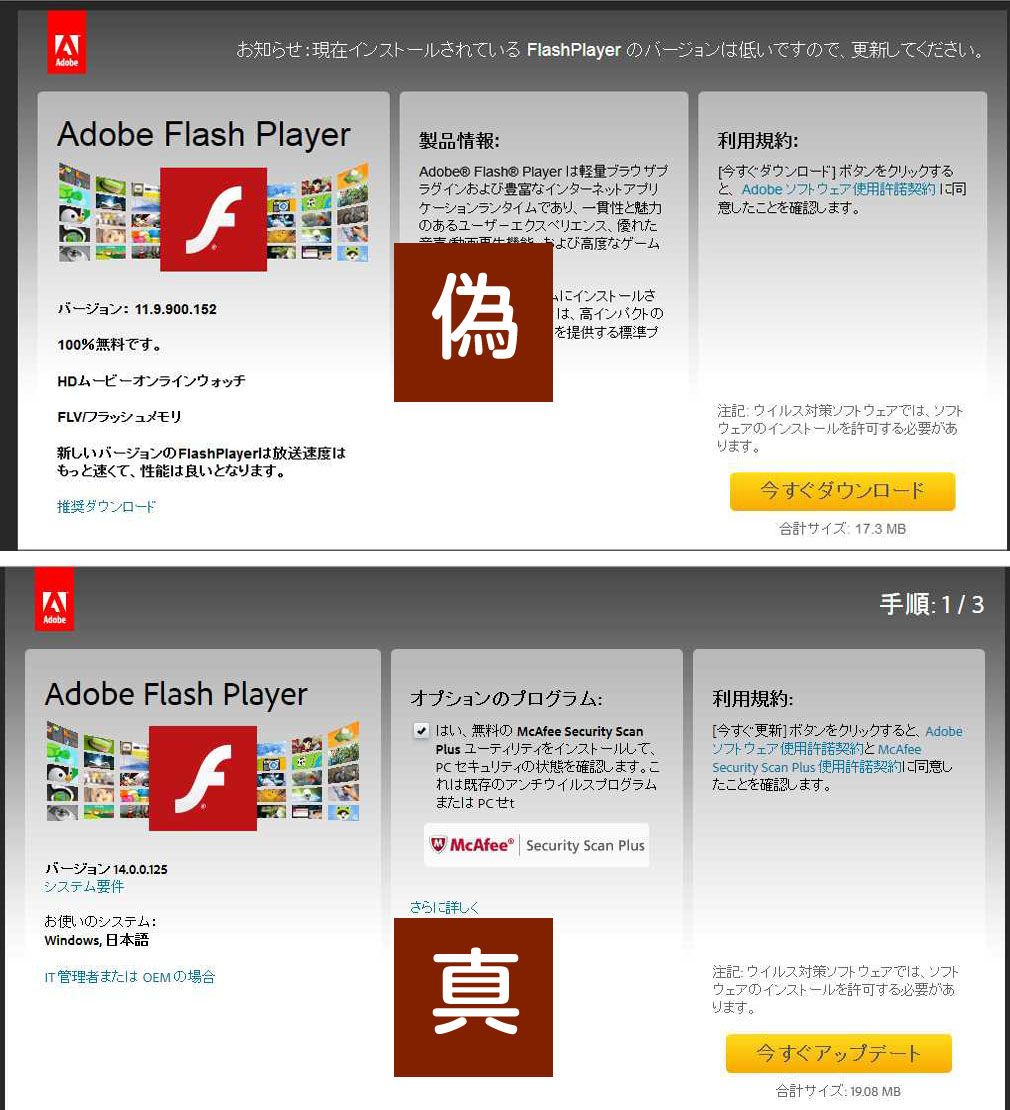 偽のFlashPlayer