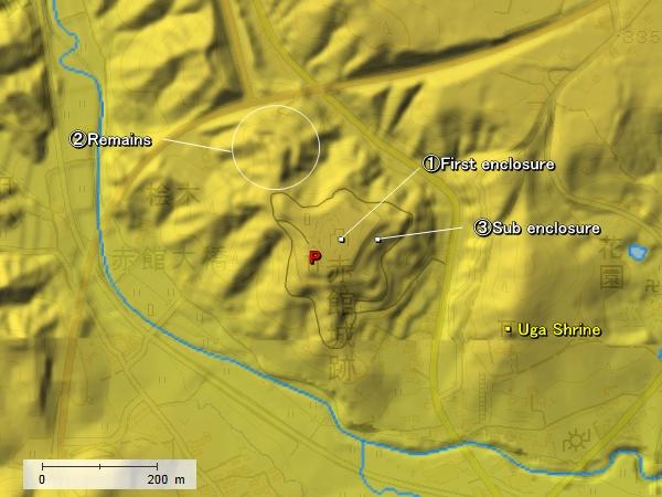Akadate Castle topography