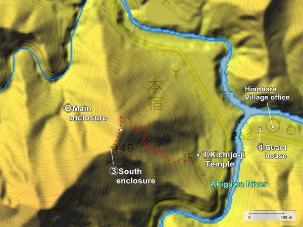 Hinohara Castle topography