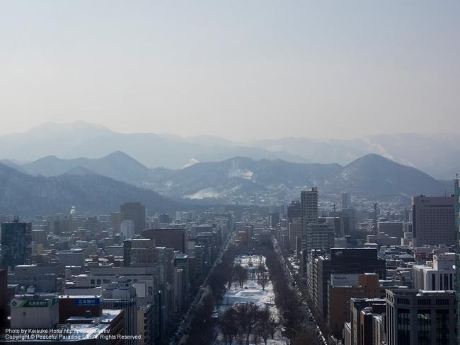 札幌テレビ塔から大通公園を望む