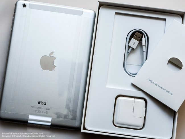 iPad mini Retina Wi-Fi + Cellularモデルと付属品