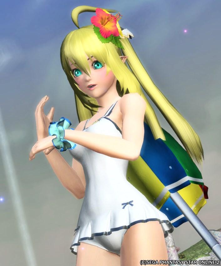夏の白い水着の少女はキラキラしてる(*^ω^*)