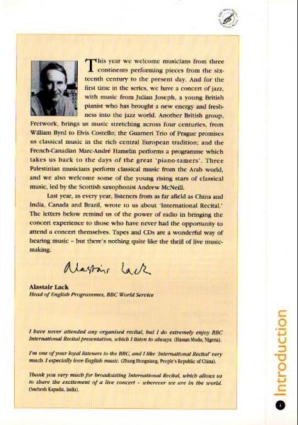 BBC WORLD SERVICE International Recital March 1996