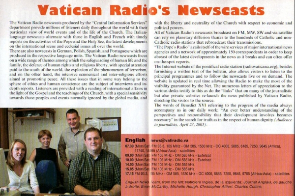 Radio Vaticana programmes november 2005 - march 2006