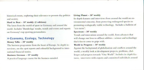 English Service DEUTSCHE WELLE 2005 Programmes