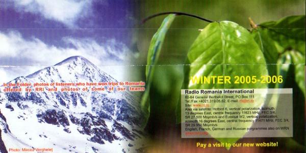 2005-2006年冬季 Radio Romania International(ルーマニア)スケジュール表の表紙
