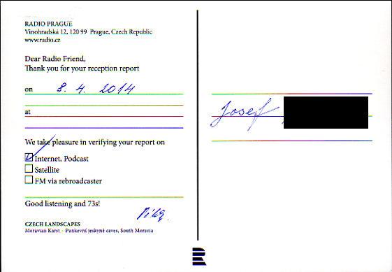2014年4月8日 インターネット放送受信 ラジオ・プラハ(チェコ)のQSLカード(受信確認証)