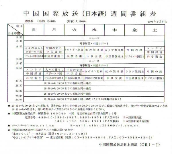 2005年9月 CRI 日本語放送番組表