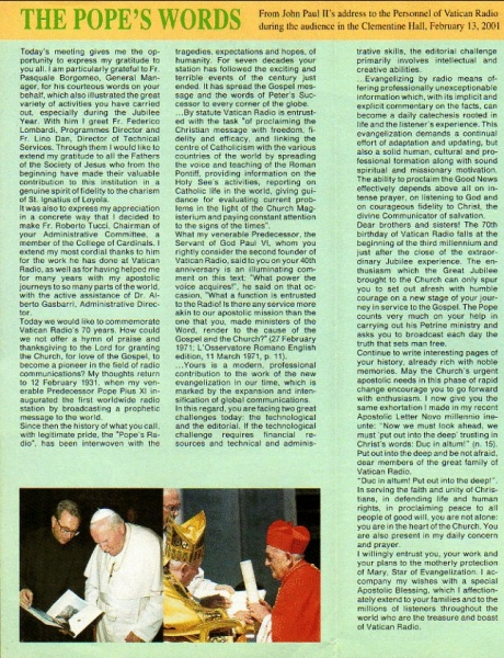 Radio Vaticana PROGRAMMES april-october 2001