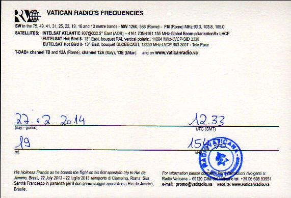 2014年2月27日 中国語放送受信 バチカン放送のQSLカード(受信確認証)
