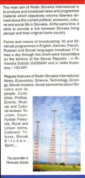 1993-1996 RADIO SLOVAKIA INTERNATIONAL 3 years of foreign broadcasting