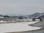 病室から信濃川と越後三山を