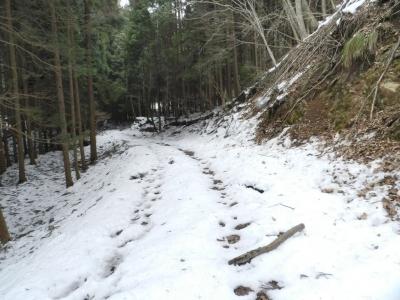 雪の残る谷間