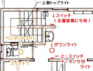 2Fトイレ&洗面 照明配置