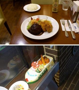 エキュートうえの洋食や三代目たいめいけん,季節のおすすめカキフライメニューより、国産粗挽きハンバーグ&広島地御前産カキフライ3