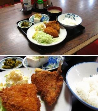 山田ホームレストランにて本日の定食からB.アジフライ 奴(ひややっこ)3