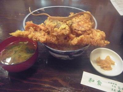 大松の穴子大海老天丼 (1)