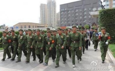 中軍人待遇改善抗議デモ1