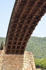 錦帯橋のアーチ部分を下から見たところ