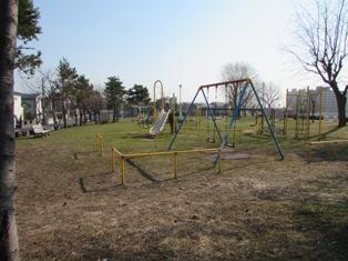 すっかり雪の溶けた公園
