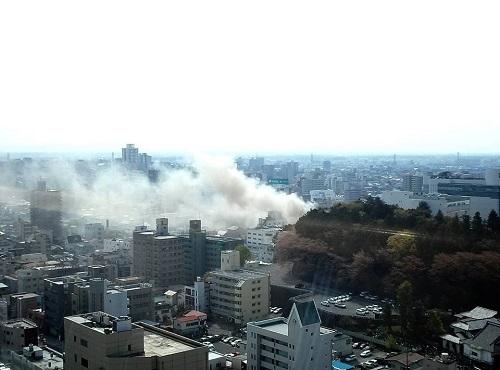宇都宮市 市街地で現在火災発生中!