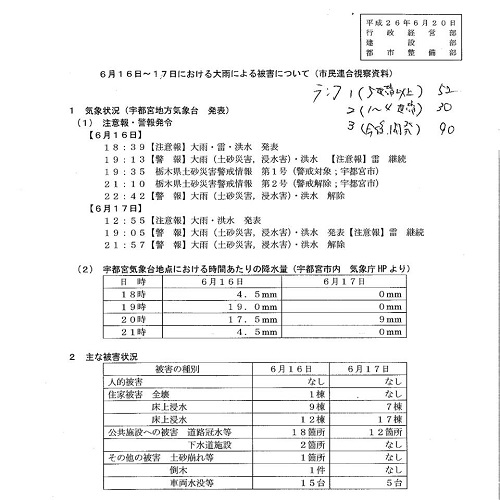 6月16日~17日における大雨による被害状況<現地調査>!⑤