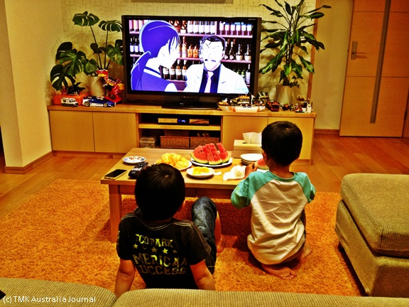 Kids watching Konan