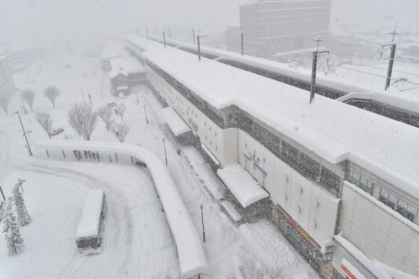 2014年2月15日 上田駅前