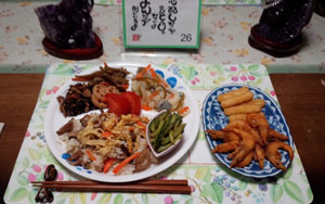晩ご飯 蕗寿司と芝海老