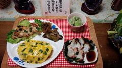 オムライス+地鶏+生タコ刺身
